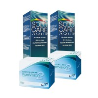 Purevision 2HD (Cx 6) x2 + Solo Care 360ml x2